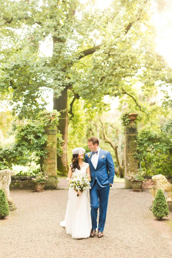 newlyweds portrait in the property of the italian villa