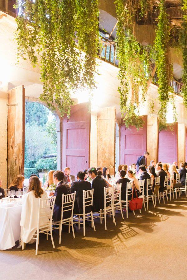 reception into the limonaia of the villa