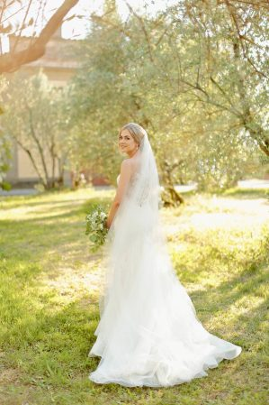 bride walking in the countryside