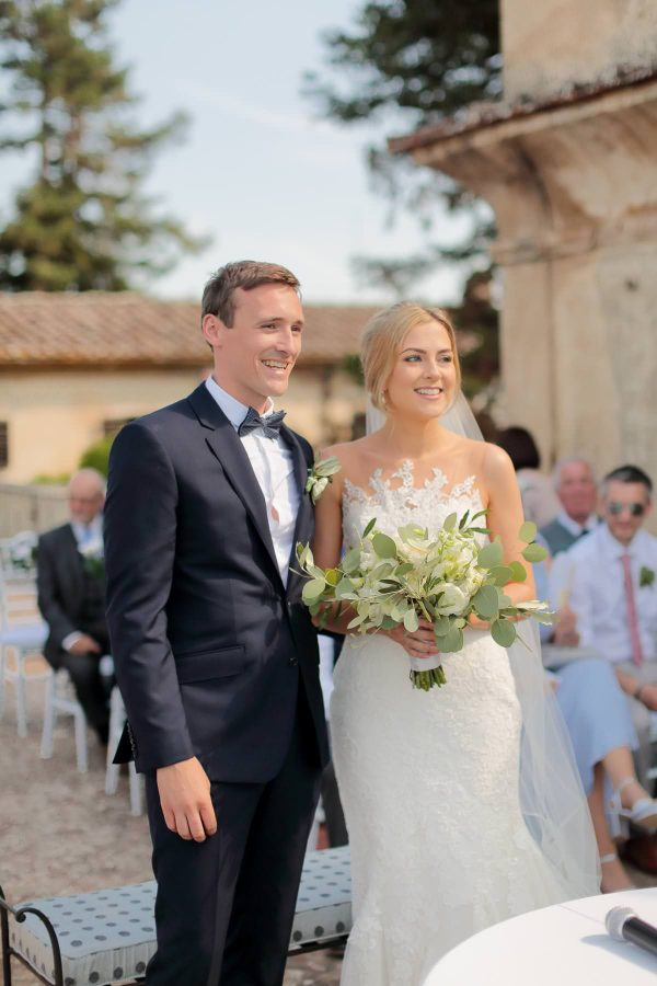 ceremony on the terrace at villa di lilliano