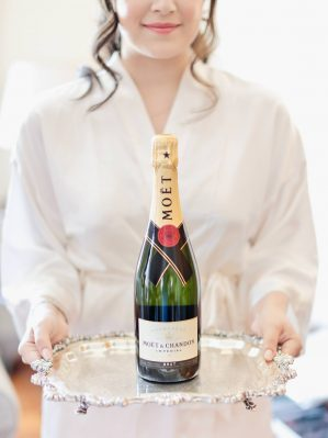 moet champagne for toasting with bridesmaids