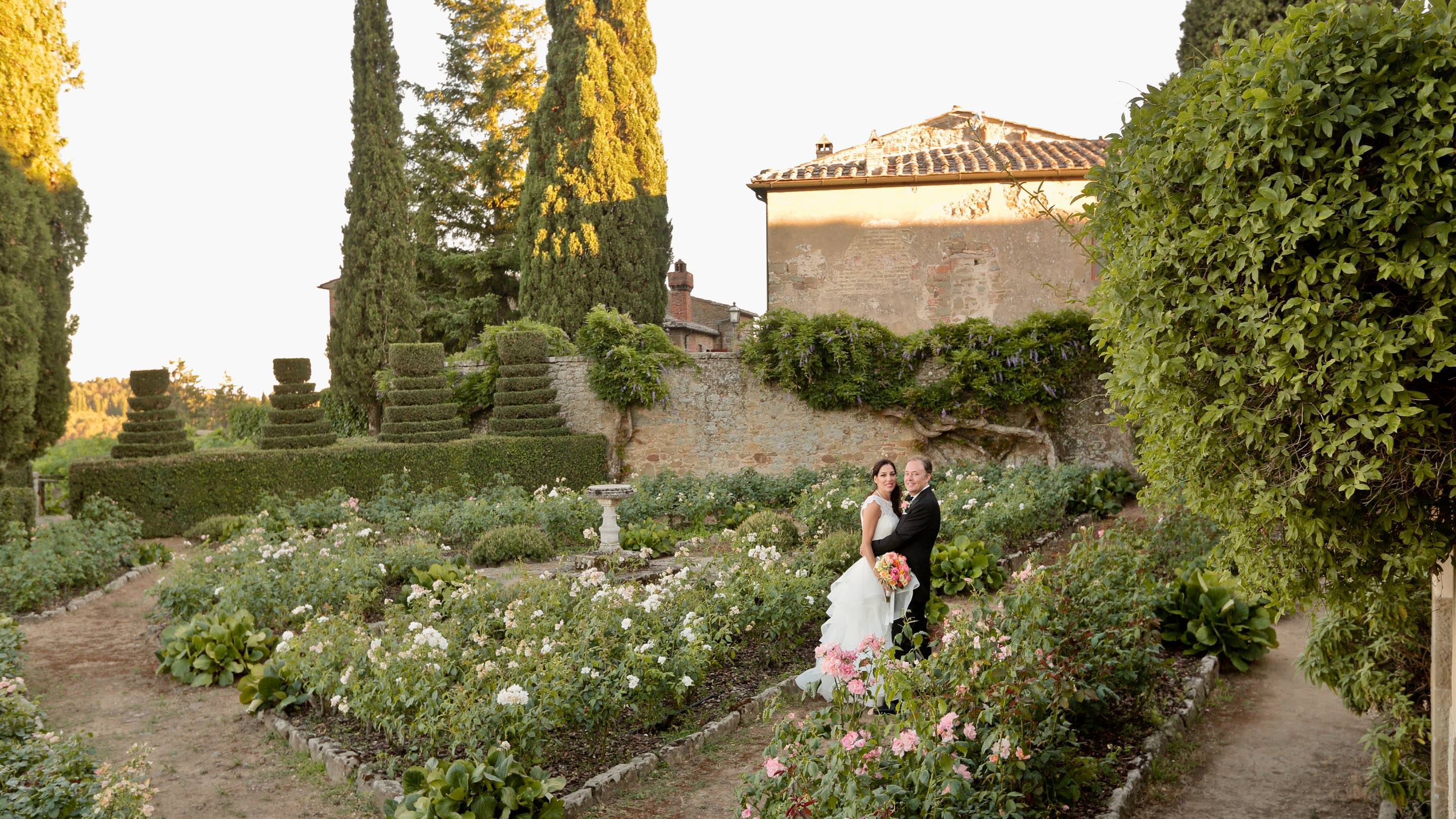 one of the best gardens for wedding photos at castello di gargonza