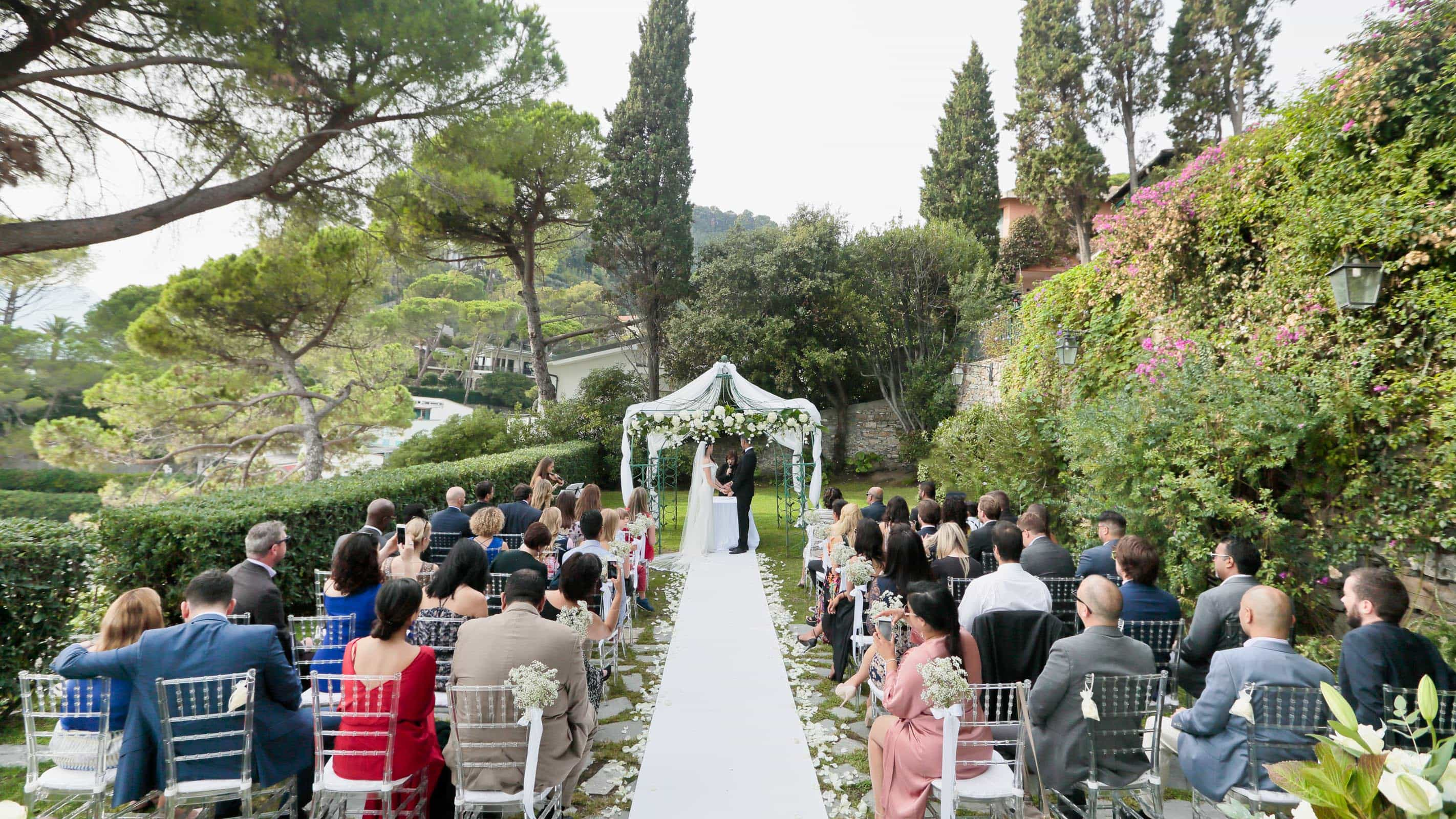 garden ceremony at Castello Canevaro