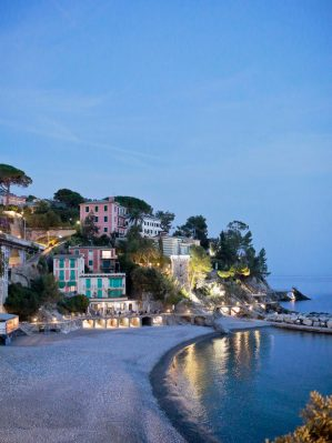 the view of Zoagli beach from Castello Canevaro
