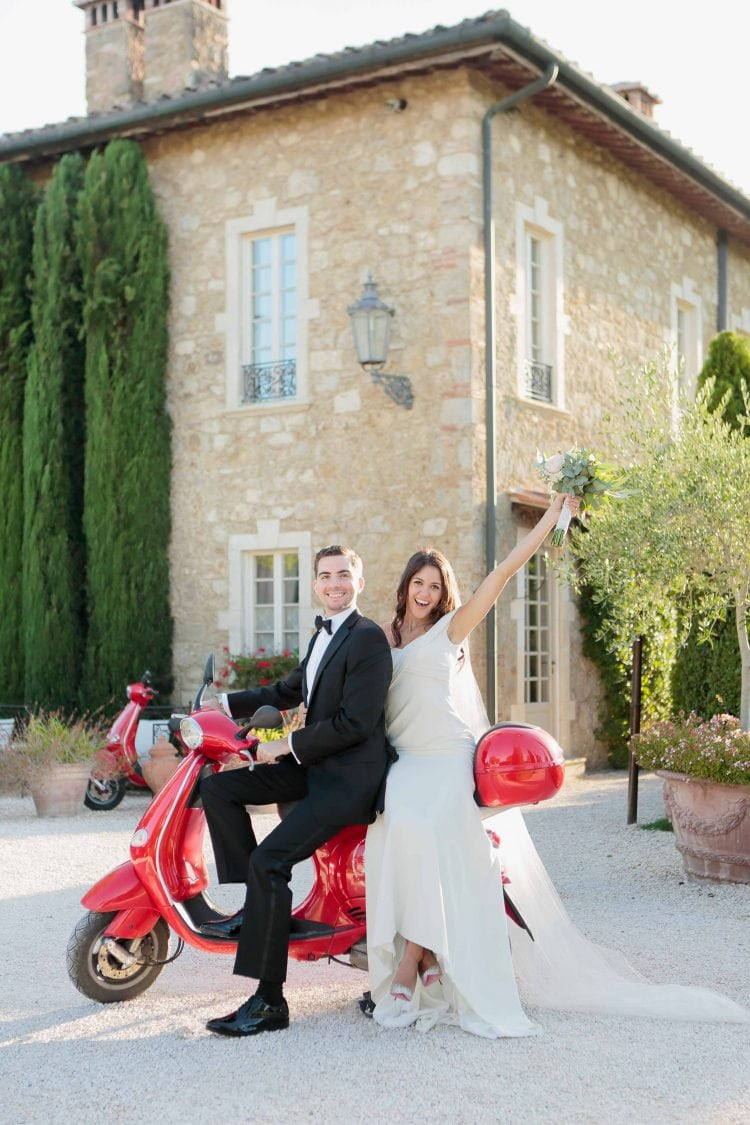 newlyweds having great time on a typical italian cycle