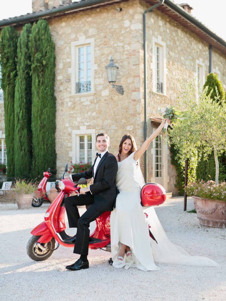 eloping on a typical italian motorcycle