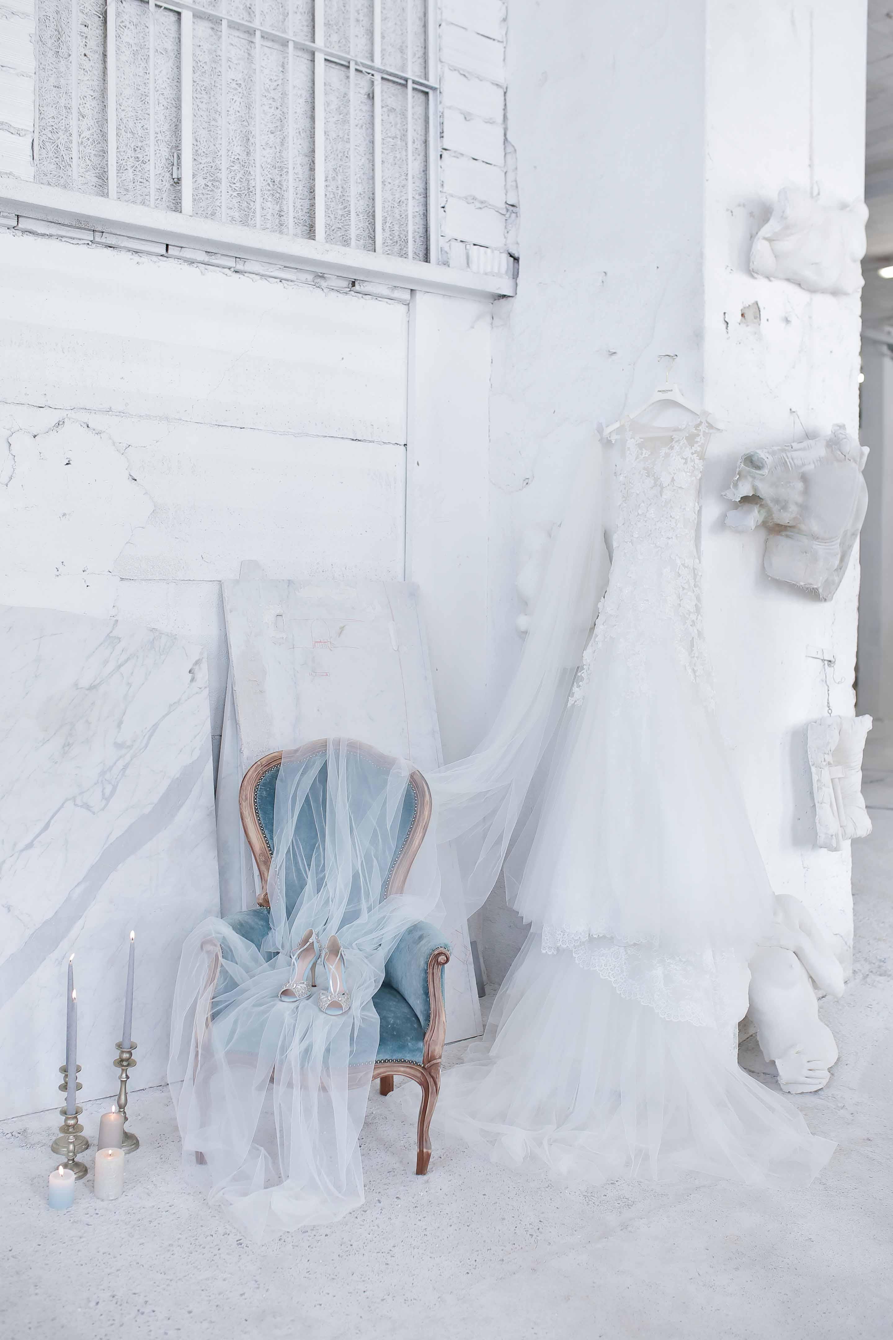 pronovias dress and emmy london bridal shoes
