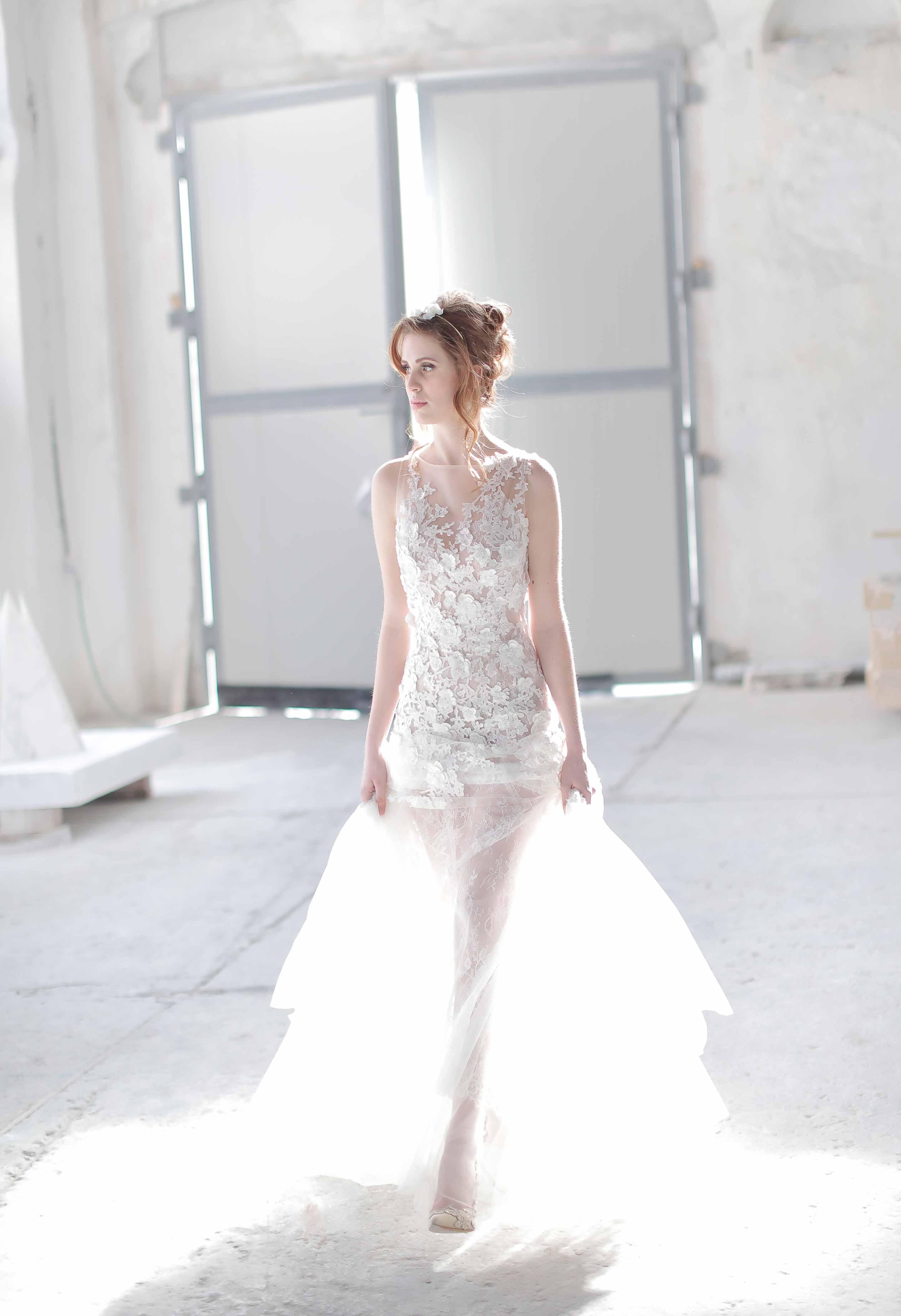 bride walking in a marble studio