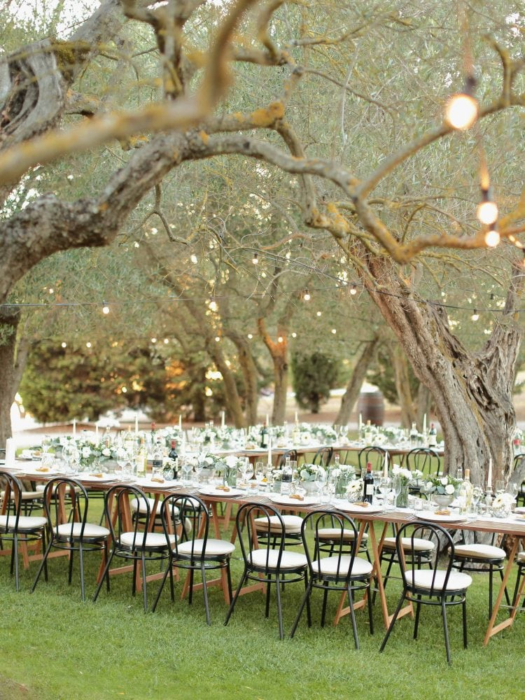 the table set for a dinner in the garden of Terre di Nano