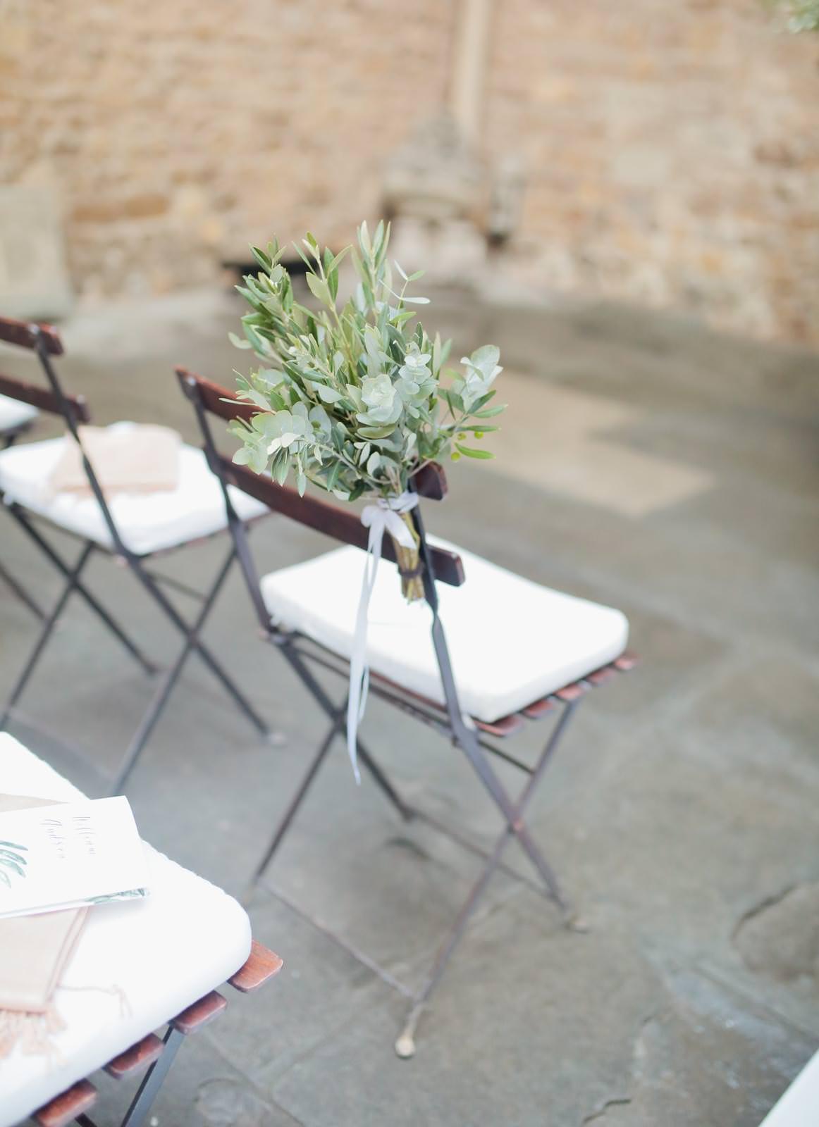 ceremony decor by the courtyard of castello di vincigliata