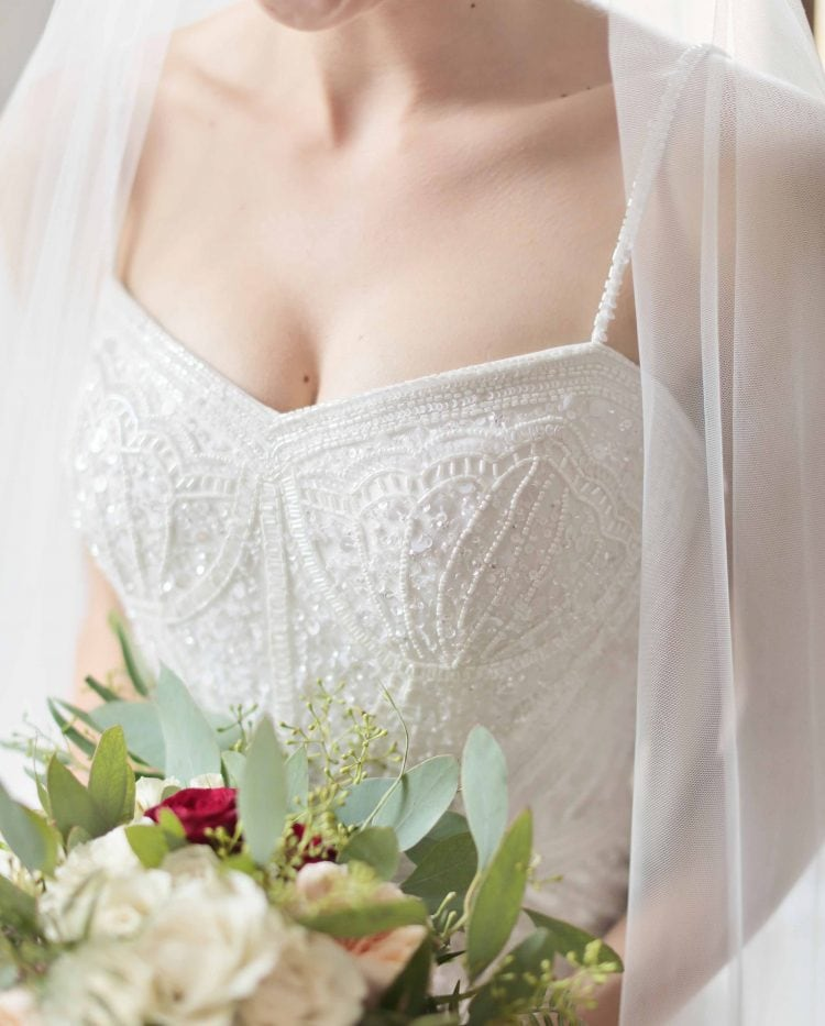 detail of the wedding gown