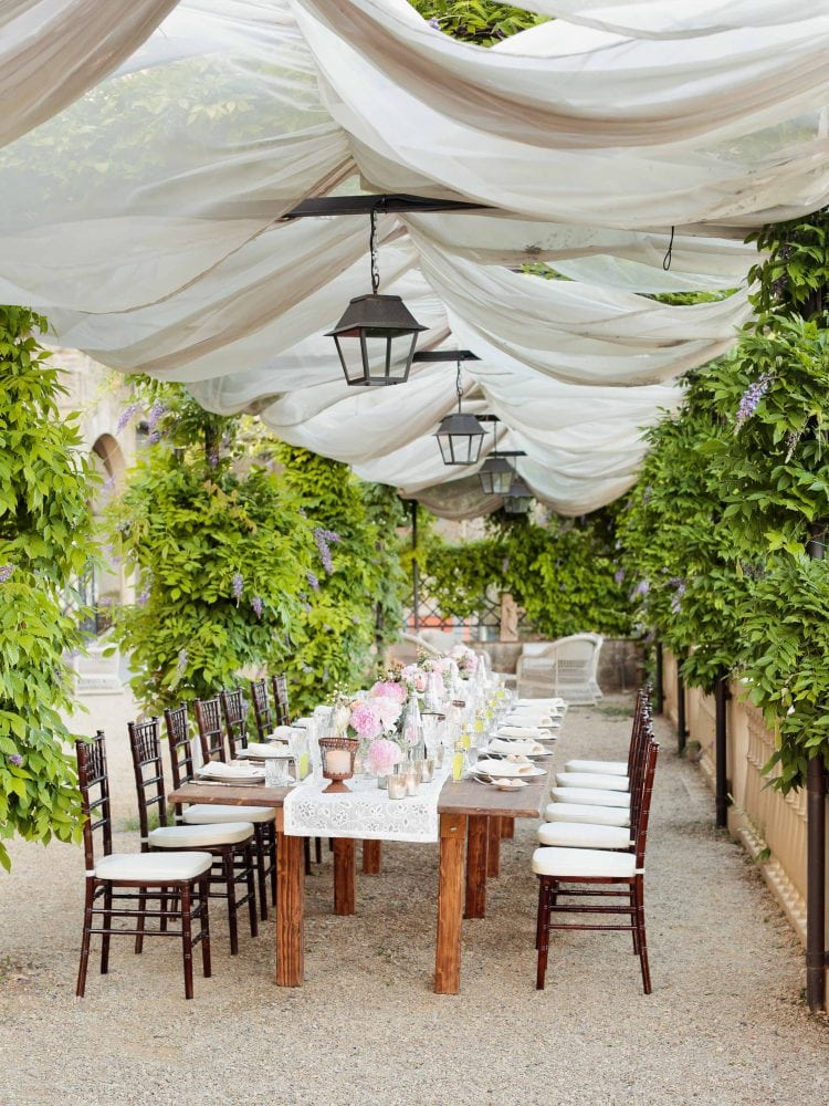 a table under the canopy