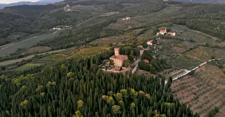 the castle of vincigliata from the drone