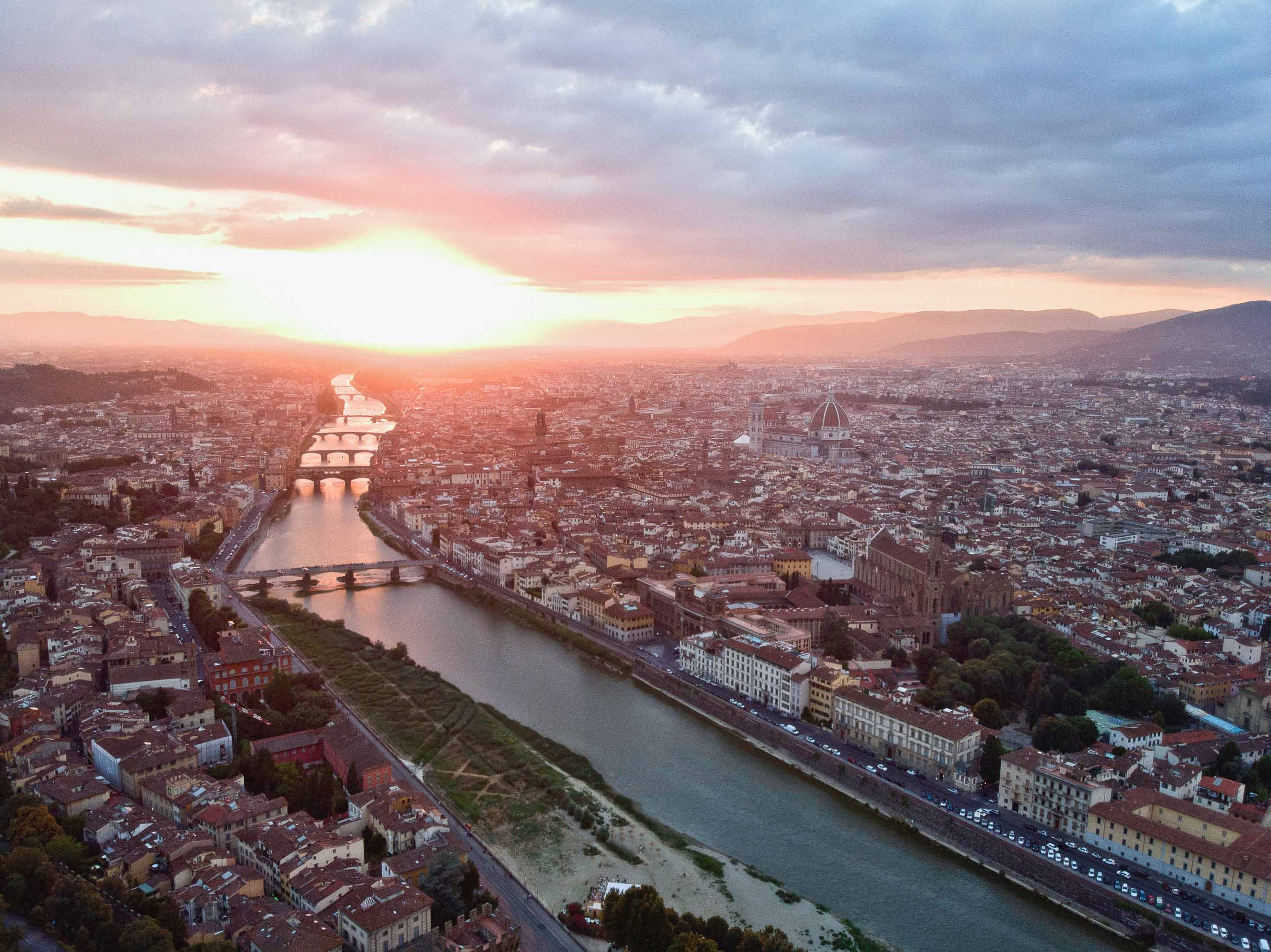 view of florence at sunset