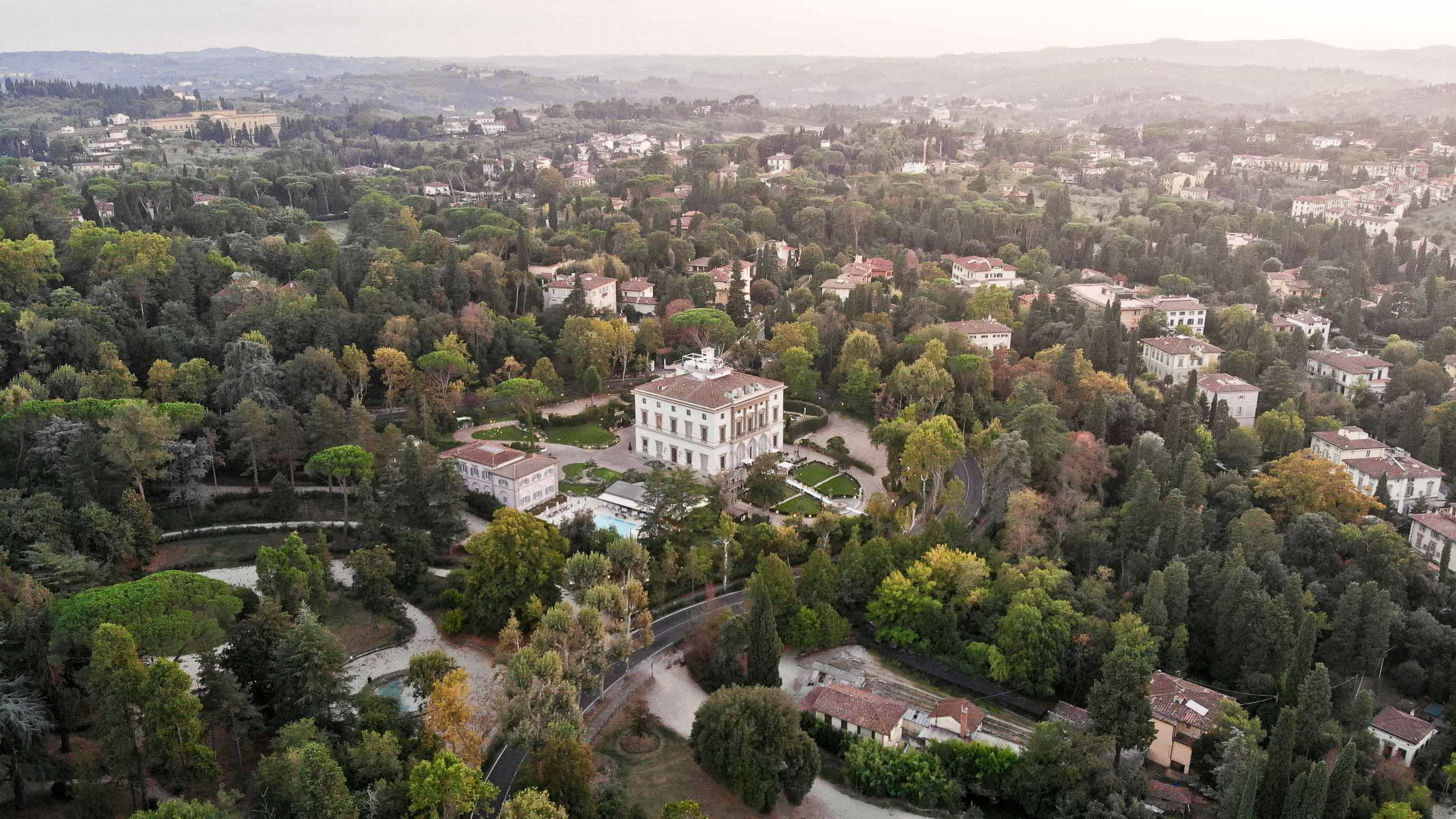 aerial photo of villa cora in florence