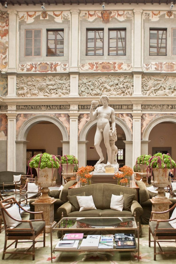 the hall with precious italian details of the four seasons in florence italy